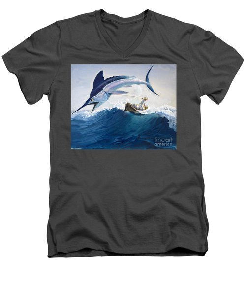 The Old Man And The Sea Men's V-Neck T-Shirt by Harry G Seabright