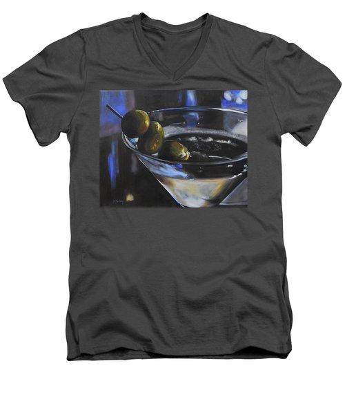 Three Olive Martini Men's V-Neck T-Shirt by Donna Tuten
