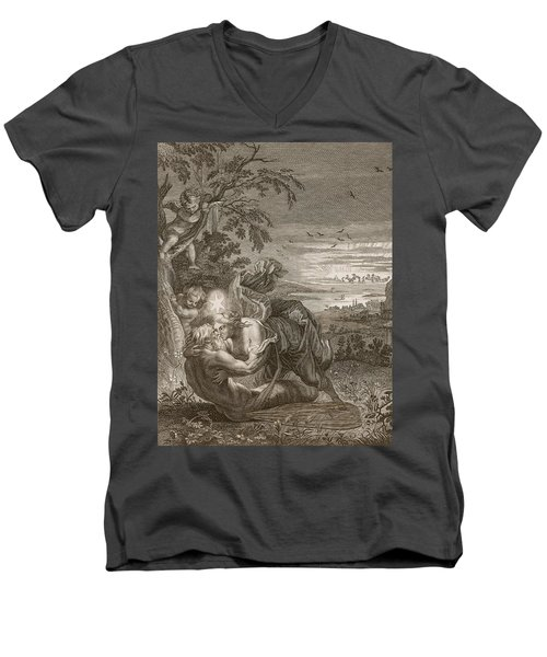 Tithonus, Auroras Husband, Turned Into A Grasshopper Men's V-Neck T-Shirt by Bernard Picart