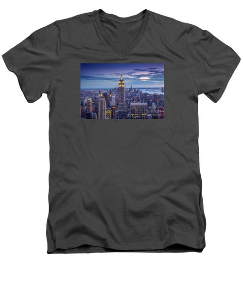 Top Of The World Men's V-Neck T-Shirt by Marco Crupi