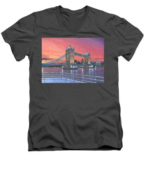 Tower Bridge After The Snow Men's V-Neck T-Shirt by Richard Harpum