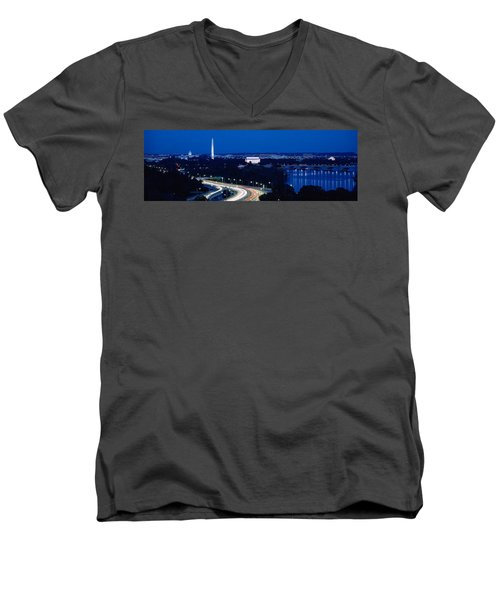 Traffic On The Road, Washington Men's V-Neck T-Shirt by Panoramic Images