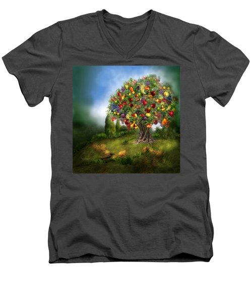 Tree Of Abundance Men's V-Neck T-Shirt by Carol Cavalaris