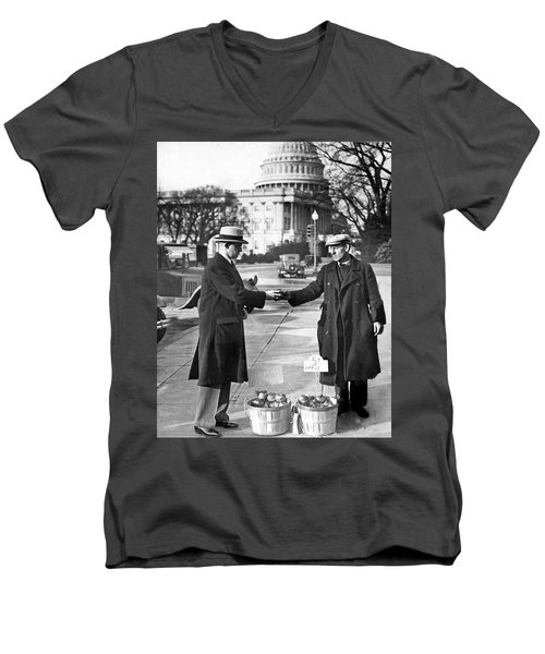 Unemployed Man Sells Apples Men's V-Neck T-Shirt by Underwood Archives