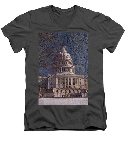 United States Capitol Men's V-Neck T-Shirt by Skip Willits