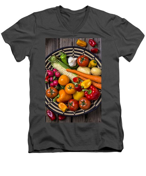 Vegetable Basket    Men's V-Neck T-Shirt by Garry Gay
