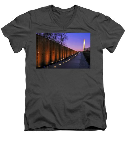 Vietnam Veterans Memorial At Sunset Men's V-Neck T-Shirt by Pixabay