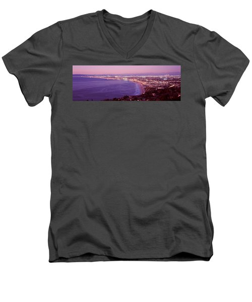 View Of Los Angeles Downtown Men's V-Neck T-Shirt by Panoramic Images