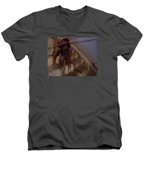 Men's V-Neck T-Shirt featuring the photograph Varanasi Hair Wash by Travel Pics
