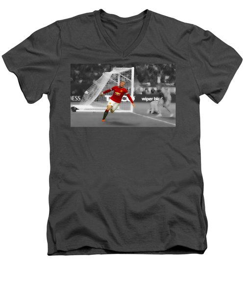Wayne Rooney Scores Again Men's V-Neck T-Shirt by Brian Reaves