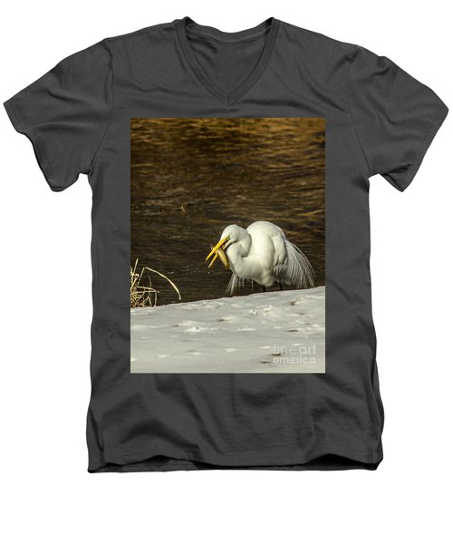 White Egret Snowy Bank Men's V-Neck T-Shirt by Robert Frederick