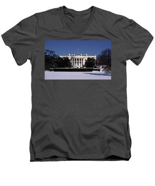 Winter White House  Men's V-Neck T-Shirt by Skip Willits
