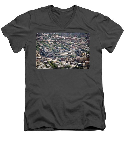 Wrigley Field - Home Of The Chicago Cubs Men's V-Neck T-Shirt by Adam Romanowicz
