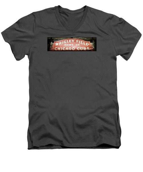 Wrigley Field Sign - No.2 Men's V-Neck T-Shirt by Stephen Stookey