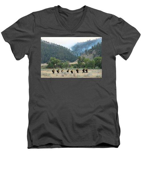 Men's V-Neck T-Shirt featuring the photograph Wyoming Hot Shots Walk To Their Assignment by Bill Gabbert