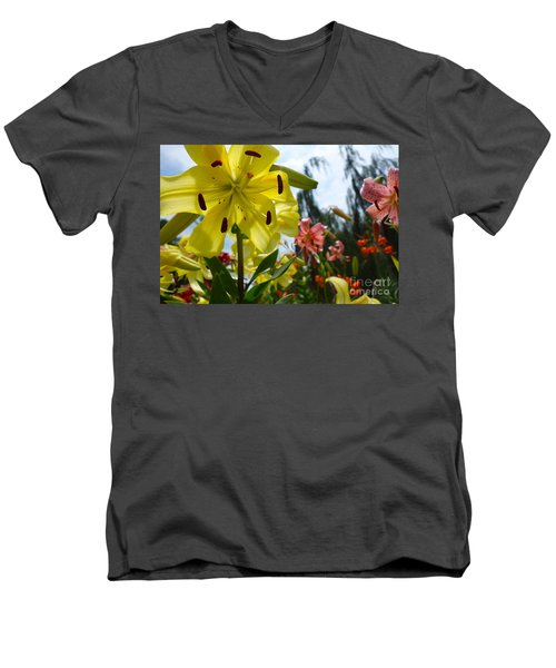Yellow Whopper Lily 1 Men's V-Neck T-Shirt by Jacqueline Athmann