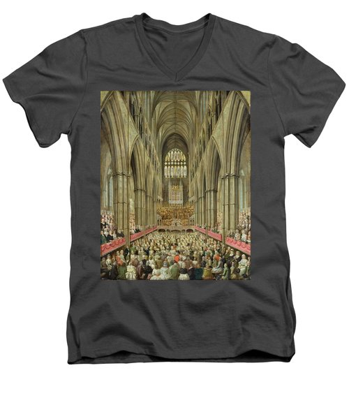 An Interior View Of Westminster Abbey On The Commemoration Of Handel's Centenary Men's V-Neck T-Shirt by Edward Edwards