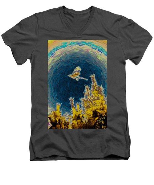 Bluejay Gone Wild Men's V-Neck T-Shirt by Trish Tritz