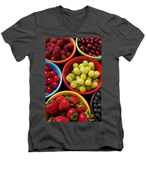 Bowls Of Fruit Men's V-Neck T-Shirt by Garry Gay