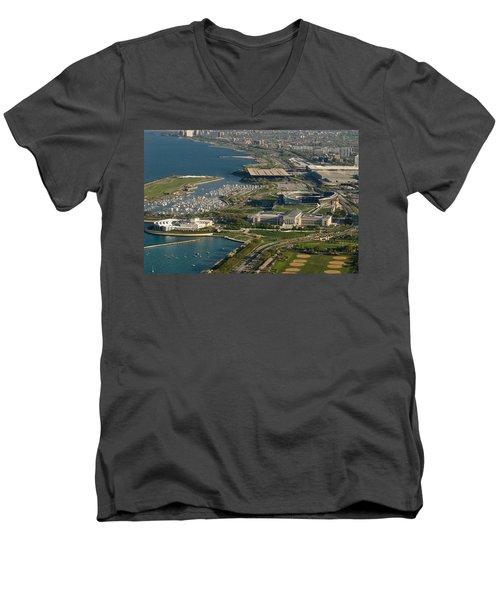 Chicagos Lakefront Museum Campus Men's V-Neck T-Shirt by Steve Gadomski