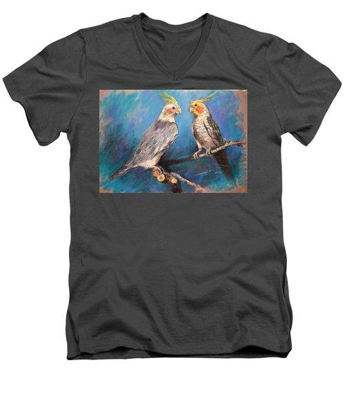 Coctaiel Parrots Men's V-Neck T-Shirt by Ylli Haruni