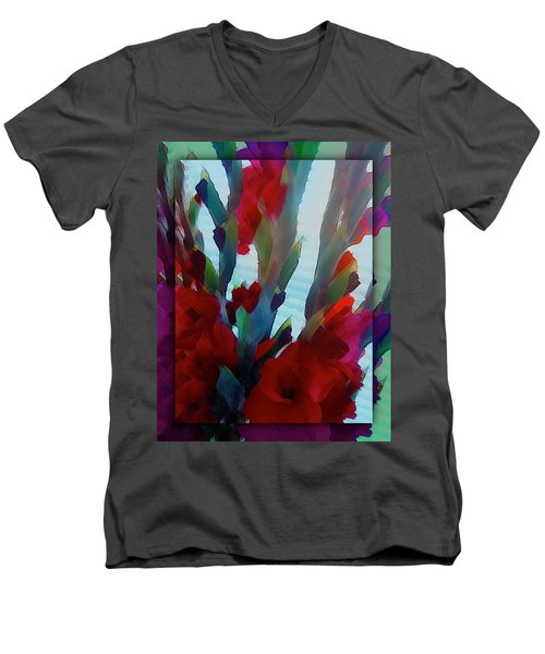 Men's V-Neck T-Shirt featuring the digital art Glad by Richard Laeton