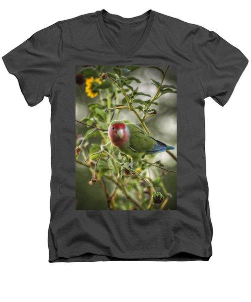 Lovely Little Lovebird Men's V-Neck T-Shirt by Saija  Lehtonen