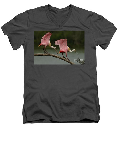 Rosiette Spoonbills Men's V-Neck T-Shirt by Bob Christopher