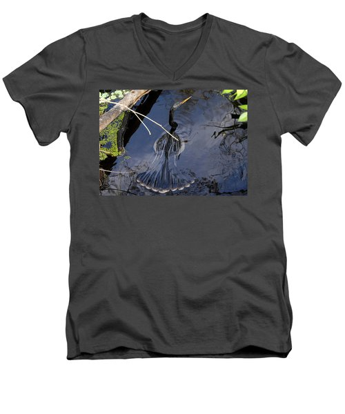 Swimming Bird Men's V-Neck T-Shirt by David Lee Thompson