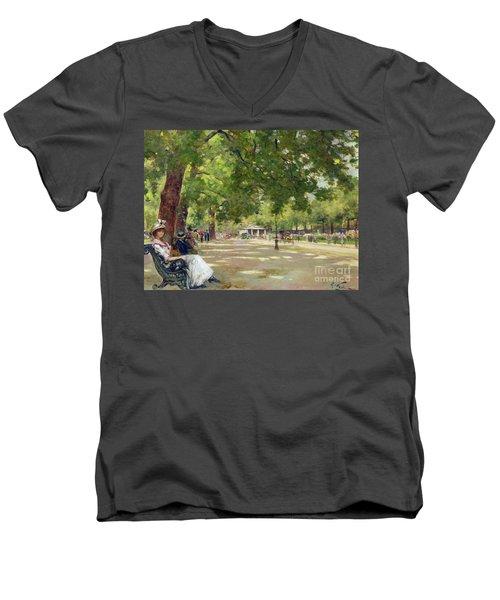 Hyde Park - London Men's V-Neck T-Shirt by Count Girolamo Pieri Nerli