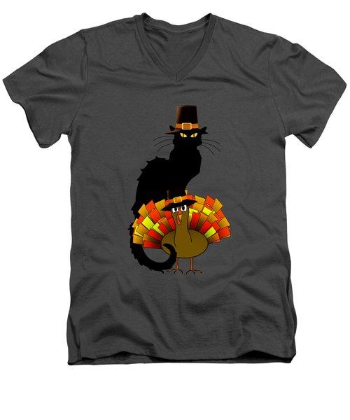 Thanksgiving Le Chat Noir With Turkey Pilgrim Men's V-Neck T-Shirt by Gravityx9  Designs