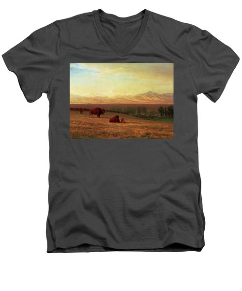 Buffalo On The Plains Men's V-Neck T-Shirt by MotionAge Designs