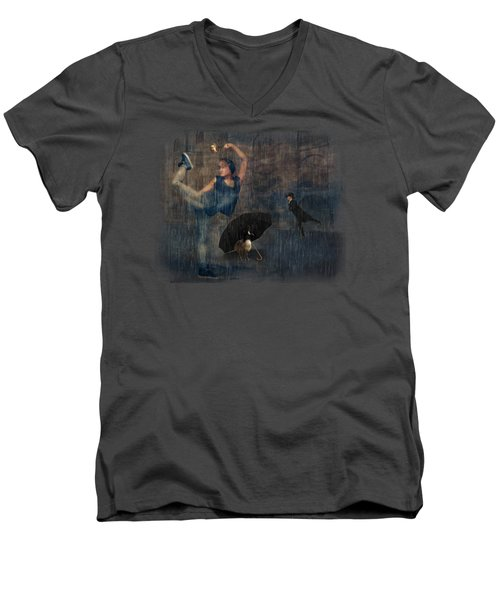 Dancing In The Rain Men's V-Neck T-Shirt by Terry Fleckney