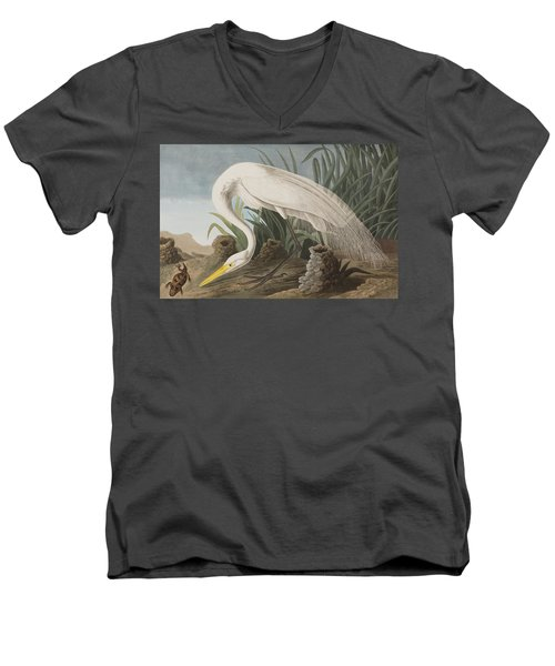 Great Egret Men's V-Neck T-Shirt by John James Audubon