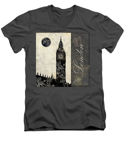 Moon Over London Men's V-Neck T-Shirt by Mindy Sommers
