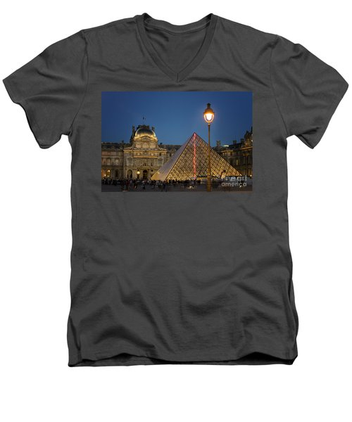 Louvre Museum At Twilight Men's V-Neck T-Shirt by Juli Scalzi