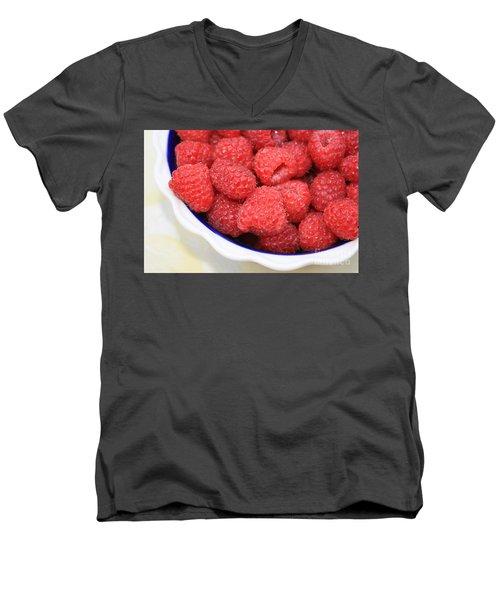 Raspberries In Polish Pottery Bowl Men's V-Neck T-Shirt by Carol Groenen