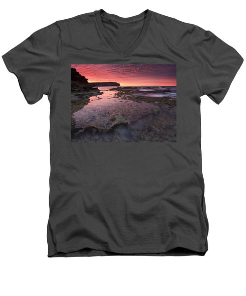 Red Sky At Morning Men's V-Neck T-Shirt by Mike  Dawson