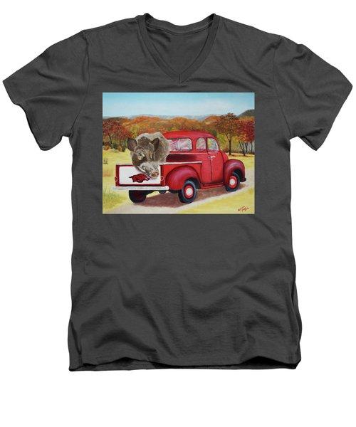 Ridin' With Razorbacks 2 Men's V-Neck T-Shirt by Belinda Nagy