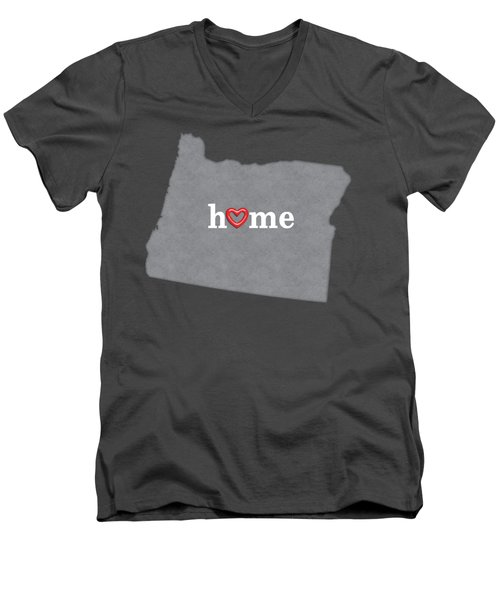 State Map Outline Oregon With Heart In Home Men's V-Neck T-Shirt by Elaine Plesser
