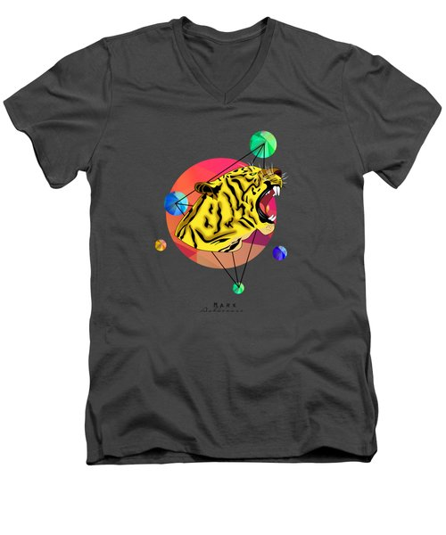 Tiger  Men's V-Neck T-Shirt by Mark Ashkenazi