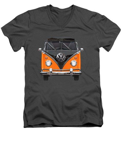 Volkswagen Type 2 - Black And Orange Volkswagen T 1 Samba Bus Over Blue Men's V-Neck T-Shirt by Serge Averbukh