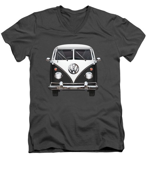 Volkswagen Type 2 - Black And White Volkswagen T 1 Samba Bus On Red  Men's V-Neck T-Shirt by Serge Averbukh