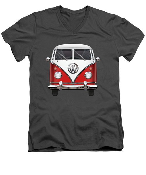 Volkswagen Type 2 - Red And White Volkswagen T 1 Samba Bus Over Green Canvas  Men's V-Neck T-Shirt by Serge Averbukh