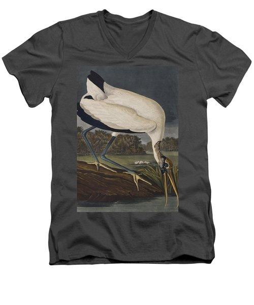 Wood Ibis Men's V-Neck T-Shirt by John James Audubon
