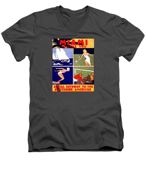 1925 Miami Travel Poster Men's V-Neck T-Shirt by Historic Image