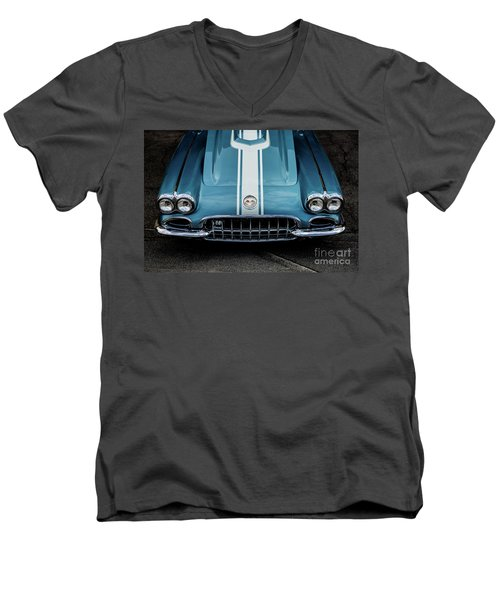 Men's V-Neck T-Shirt featuring the photograph 1960 Corvette by M G Whittingham