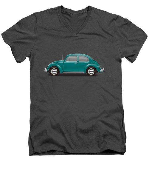 1967 Volkswagen Sedan - Java Green Men's V-Neck T-Shirt by Ed Jackson