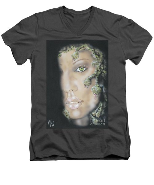 1st Medusa Men's V-Neck T-Shirt by John Sodja