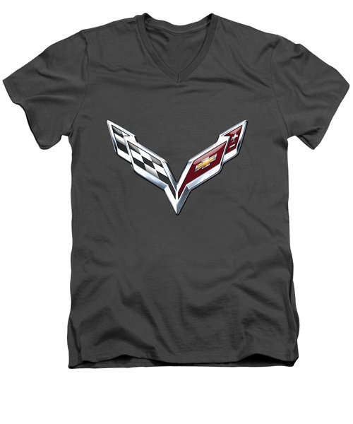Chevrolet Corvette - 3d Badge On Red Men's V-Neck T-Shirt by Serge Averbukh